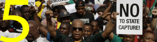 Demonstrators protest against South African President Jacob Zuma outside the union building in Pretoria, South Africa, Friday, April 7, 2017. South Africans are gathering for nationwide demonstrations against Zuma, whose dismissal of the finance minister fueled concerns over government corruption and economic weakness. (AP Photo/Themba Hadebe)