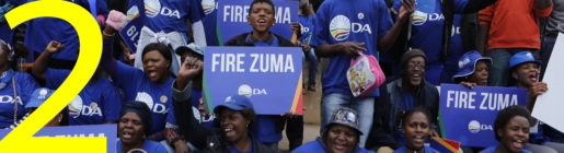 Members of the main opposition Democratic Alliance party demonstrate against South African president Jacob Zuma in Johannesburg, Friday, April 7, 2017, as thousands of South Africans demonstrated in major cities. Zuma's dismissal of the finance minister Pravin Gordhan has fuelled concerns over government corruption and a struggling economy. (AP Photo/Denis Farrell)