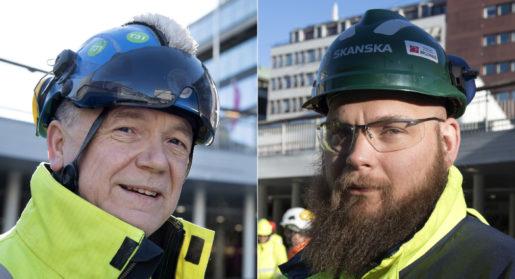 Tony Eklund värdesätter framför allt pensionsavsättningarna i det nya avtalet. Kollegan Mattias Jansson är nöjd med avtalet i stort. Foto: Jessica Gow/TT