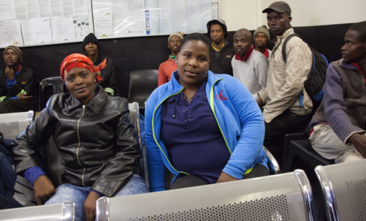 Skilled unemployed workers wait before the opening of a labour office in Isando, east of Johannesburg. Workers who look for daily or contract employment constantly visit the offices with their skill set, in hopes that the labour broker will fit them into needed employment. Picture: Kevin Sutherland / Arbetet Global - April 25, 2017