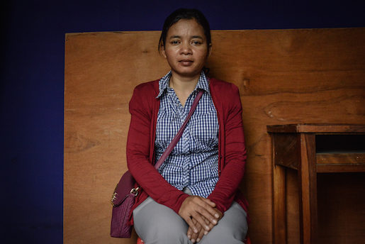 Noy Saran poses for a portrait at the offices of the Coalition of Cambodian Apparel Workers' Democratic Union in Phnom Penh on March 31, 2017. Saran is 38 and works at the Hong Wa factory.