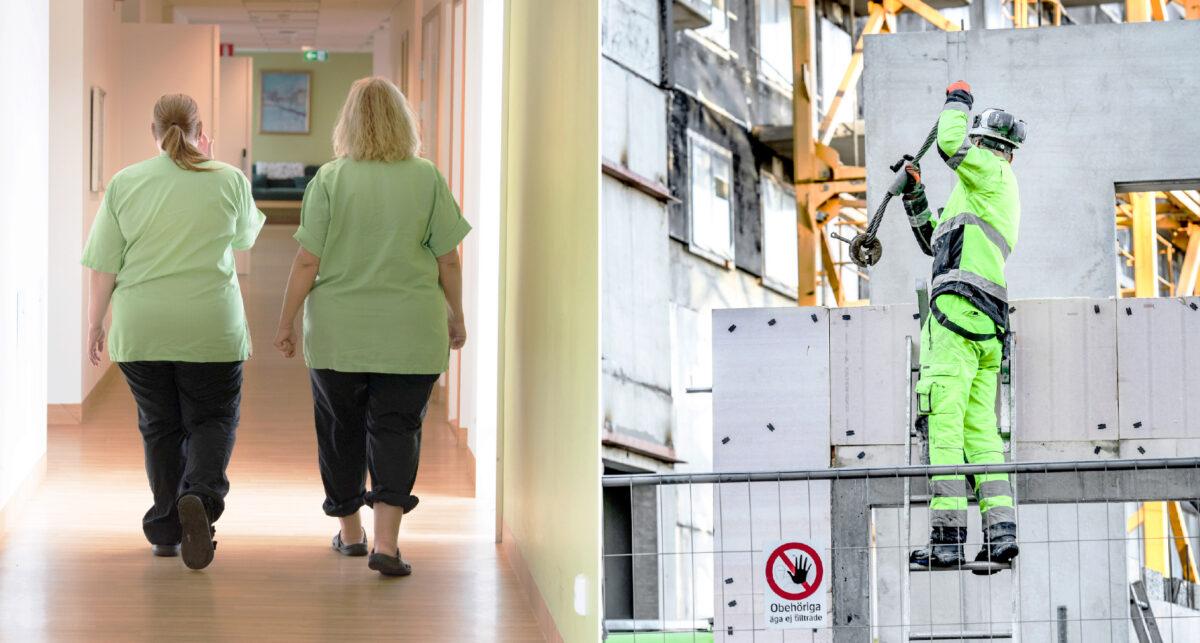 Sköterskor i sjukhusmiljö och byggnadsarbetare på byggarbetsplats